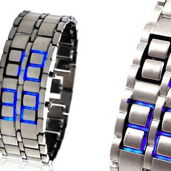 UNIKÁTNÍ LED hodinky SAMURAJ ve stříbrném provedení s MODRÝM LED zobrazením času a data za 245 Kč - přivítejte budoucnost!