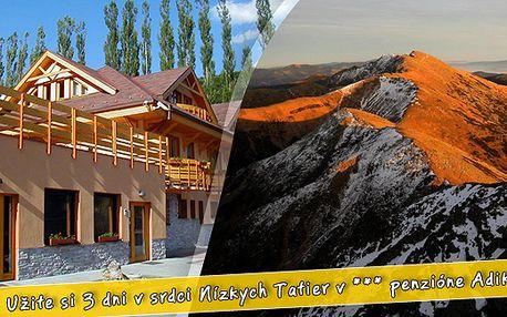 Kouzelná dovolená v Nízkých Tatrách jen za 1030 Kč na osobu. Ubytování v Penzionu *** Adika - polopenze, sauna, vířivka, fitness. 3 denní pobyt v Mýtě pod Ďumbierom. Bonus - děti do 5 let zdarma.