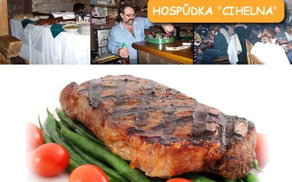 250 Kč. Gurmánský zážitek pro 2 osoby. Dva čtvrt kilové steaky Argentina s hranolkami, steakovou omáčkou a fazolkovou oblohou se slaninou. Sleva 55 %!!!