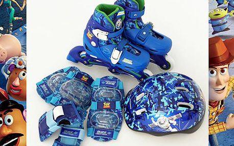 Dětské in-line brusle s chrániči a helmou. Nastavitelná velikost velikost umožňuje používat několik sezón. Brusle mají oblíbené motivy!