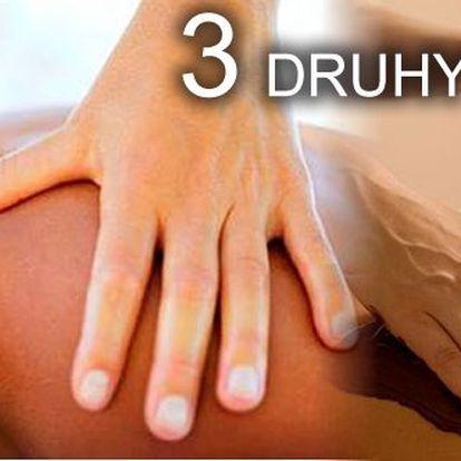 Dopřejte si relax a odpočinek. Vyberte si jednu ze tří druhů masáží a nechte hýčkat své tělo.