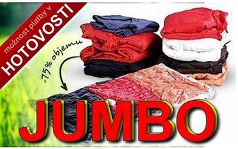 XXXL vakuový pytel na uskladnění prádla, skvělá cen jen 59,-Kč, na velikosti záleží, navíc možnost nákupu v HOTOVOSTI ještě dnes. Navštivte nás a užijte slevy ještě DNES.
