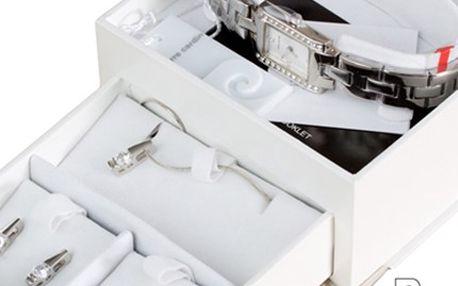 PIERRE CARDIN: hodinky, náhrdelník s přívěskem, 2 x náušnice včetně poštovného Luxusní dámský set Pierre Cardin – hodinky, náhrdelník s přívěskem a 2 páry náušnic. Jedinečný design od známého módního návrháře. V ceně poštovné.