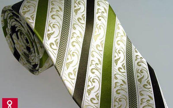 Hedvábná kravata - pruhovaná - zelené pruhy