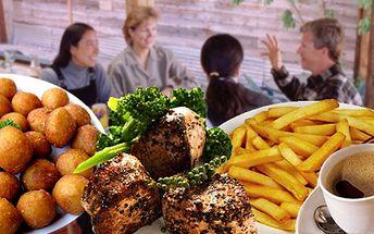 Báječná večeře pro 2 v oblíbené restauraci Medlenka za 232Kč! 2x 200g medailonky z vepřové panenky, 2x hranolky, 2x dressing dle vlastního výběru, 2x okurkový salát!