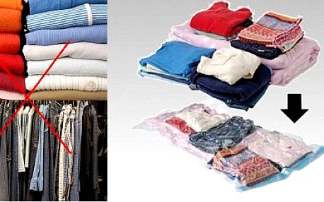 Konec přecpaných skříní díky vakuovým vakům ! 269 Kč za sadu vakuových vaků ( 5ks ) včetně poštovného pro vaše oblečení. Revoluční způsob, který dokáže ušetřit až 75 % místa. Nyní za hubičku se slevou 74 % !
