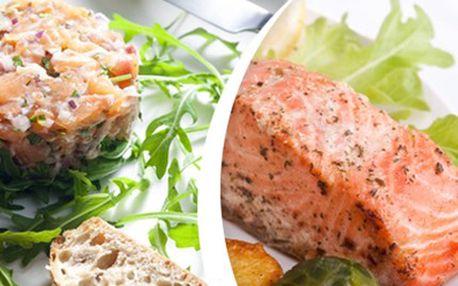 GURMÁNSKÝ ZÁŽITEK pro 2: tatarák a 2x steak z lososa + přílohy 150g tataráku z lososa s opékaným chlebem a 2x 150g steaku z lososa s dijonským přelivem a opékaným bramborem. Užijte si gurmánský zážitek.