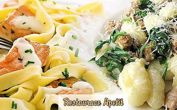 Poctivé menu pro DVA. Těstoviny s lososem, gnocchi s kuřecím a špenátem nebo salát s kuřecím a bagetkou. Radost v restauraci Apetit a sleva 50 %.