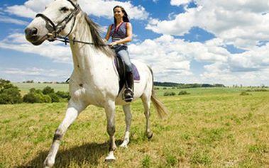 Hodinová VYJÍŽĎKA NA KONI krásnou přírodou Vyjížďka na koni pro začátečníky i pokročilé. Poznejte svět z koňského hřbetu a užijte si bezstarostnou hodinu pod dohledem průvodce. V ceně je také zapůjčení přilby.