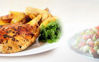 Dva kuřecí steaky s pikantní omáčkou, dvě porce smažených hranolků a veliká salátová mísa Prezident pro dva! Vychutnejte si lehké letní menu!