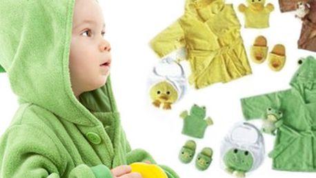 Dětská KOUPELOVÁ SADA 5 v 1 včetně poštovného Sada do koupele pro ty nejmenší obsahuje župánek, bryndáček, bačkůrky, žínku hračku a žínku maňáska. Vybírejte ze 4 variant provedení. V ceně poštovné.