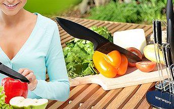Sada TŘÍ keramických nožů a škrabky. Ostře elegantní sada v praktickém stojanu.