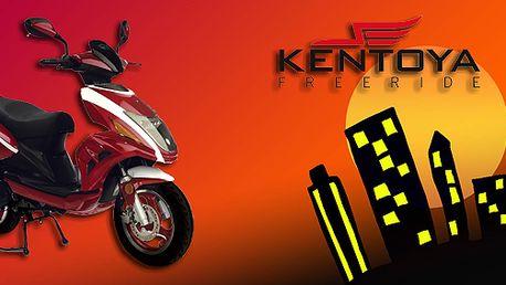 Skútr Kentoya City One 50 4T pro pohodlnou jízdu městem. Perfektní design, litá kola a hliníkový tlumič výfuku!