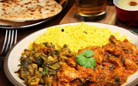 Exotické 3chodové indické masové menu pro DVA – předrkm, hlavní chod s přílohou a dezert. Uspokojí i náročné labužníky.