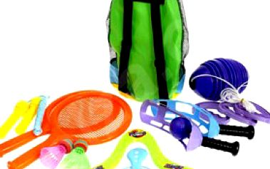 SPORTOVNÍ SADA na pláž v batůžku – líný tenis, frisbee, švihadlo, lítací disk, přetahovací bójka a házedlo na míčky!