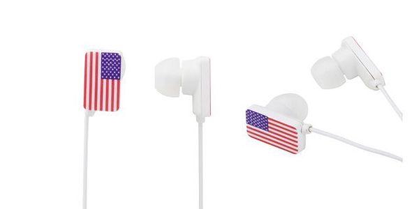 ORIGINÁLNÍ USA sluchátka do učí s gumovým zakončením s logem USA vlajky pro kvalitní poslech hudby!