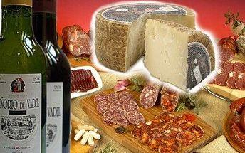 Gurmánský balíček španělských delikates: víno, sýr Manchego, salám Chorizo. Vše čerstvé, pravé. Tip na dárek!