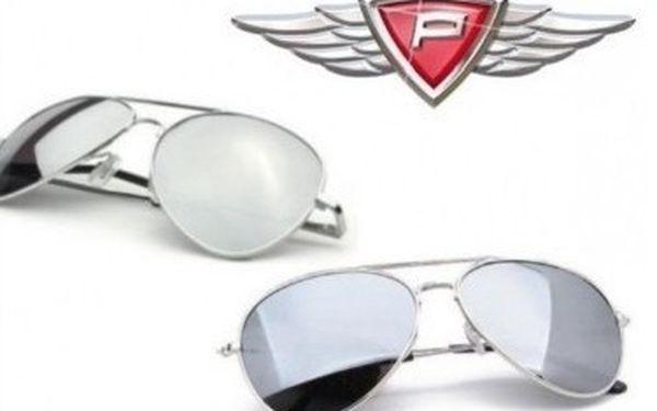 Zrcadlové brýle Pilot s klasickým tvarem. Skvělé značkové zrcadlové brýle PILOT
