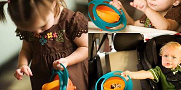 Gyroskopická miska na jídlo pro děti – obsah se nikdy nevysype, víko pro uskladnění potravin