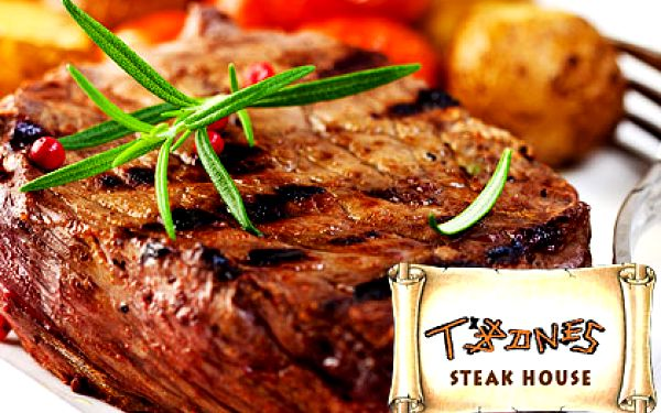 Steaky z roštěné a bifteky ze svíčkové – celkem 500 g hovězího masa ve vyhlášeném Steak Housu T-Bones