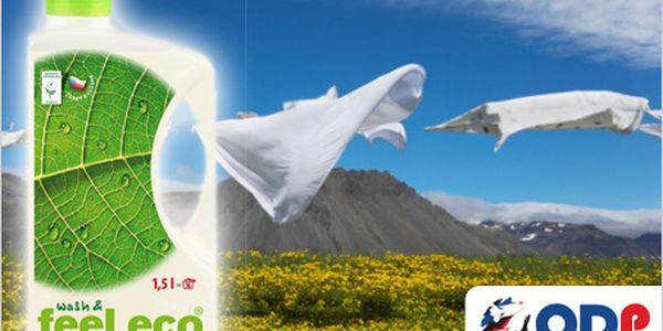 2 prací gely Feel Eco 1,5 l, na bílé a barevné prádlo za 199 Kč. Netoxické a bez alergenů! Vysoce účinné i při nízkých teplotách.