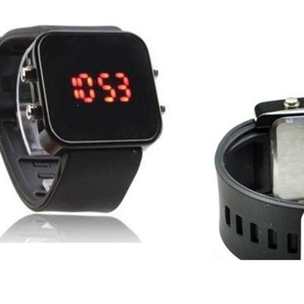 Zrcadlové LED hodinky v černé barvě, které ohromí Vás i Vaše okolí, místo ciferníku stylové a praktické zrcátko!