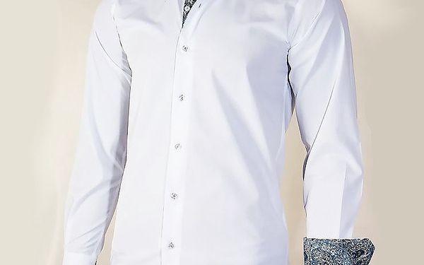 Pánská košile - bílá se vzorovanými lemy
