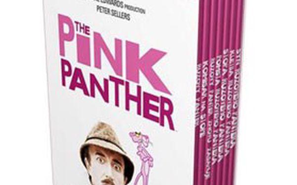 Kolekce 7 DVD RŮŽOVÝ PANTER, baleno v unikátních růžových slimboxech. Užijte si večery s geniálním nešikou JACQUESEM CLOUSEAUEM