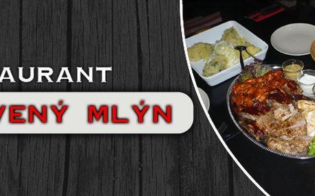 Obrovské porce masových specialit z grillu, omáčky, šťouchané brambory atd.!