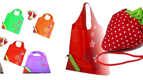 Konec nevzhledným igelitkám! 4x skládací taška ve tvaru jahody, výběr z 6 barev!