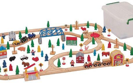 Vláčkodráha Maxim obsahující 120 dílků. Potěšte děti dřevěnou stavebnicí!