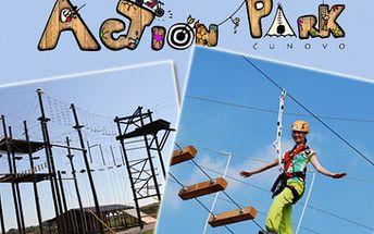 Len 5,50 € za zábavu v lanovom centre Action park. Adrenalín 8 metrov nad zemou s 50% zľavou.