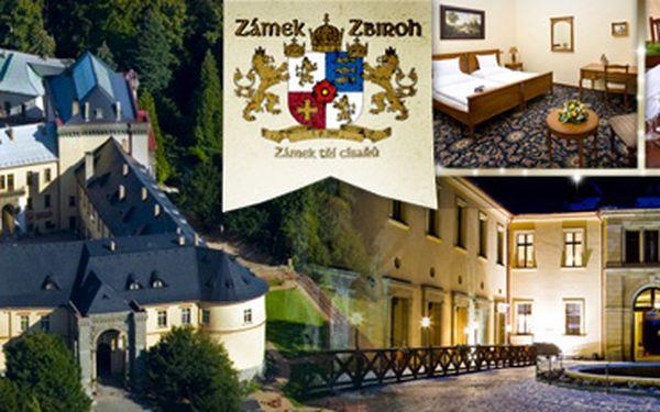 EXKLUZIVNÍ ROMANTICKÝ POBYT NA ZÁMKU ZBIROH až s 65% slevou!! 5hvězdičkový hotel!! Noclehy v zámeckých komnatách s autentickou dobovou atmosférou!! Skvělé jako luxusní dárek!! Ušetřete až 12 934 Kč!! Tato slevová akce se nebude prodlužovat!!