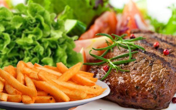 2x 200g vepřový steak s omáčkou + příloha dle vlastního výběru za neodolatelně příznivou cenu 190 Kč! Je libo steak se žampionovou, sýrovou nebo chilli omáčkou? Hranolky, krokety nebo americké brambory? Je to jen na Vás!