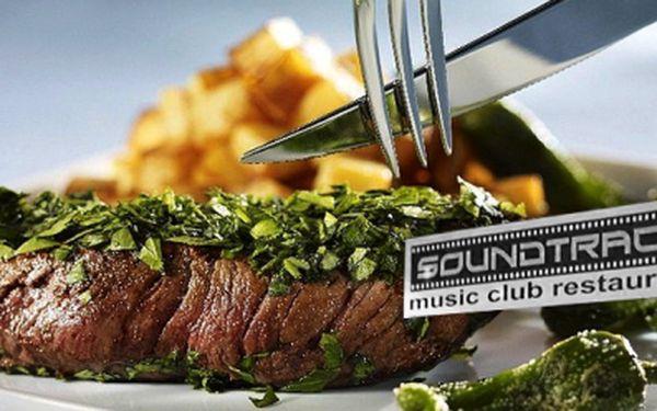 300g SOUNDTRACK STEAK (vepřové maso) za 99 Kč nebo 300g RUMPSTEAK (hovězí maso) za 199 Kč v nově otevřené restauraci s music clubem v centru Českých Budějovic!