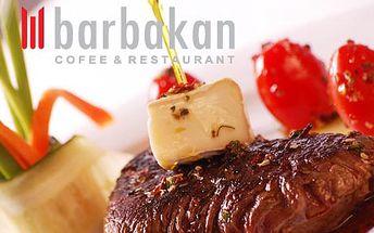 Len 5,90 € za hovädzí steak na grile v reštaurácii Barbakan. Gurmánska špecialita a príjemný večer v prostredí mestského hradu s 56% zľavou.