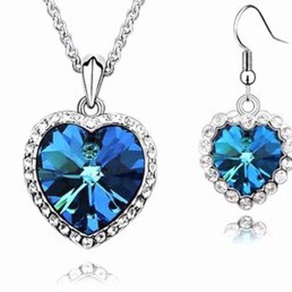Nádherný set náhrdelníku s náušnicemi srdce oceánu zdobený krystaly swarovski elements