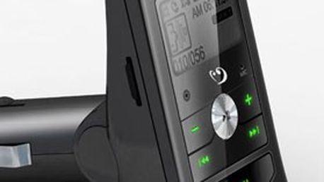 FM TRANSMITTER – vysílač pro poslech hudby v barvě černé + DÁLKOVÝ OVLADAČ v originálním balení. Plnohodnotně a levně nahradí běžné autorádio