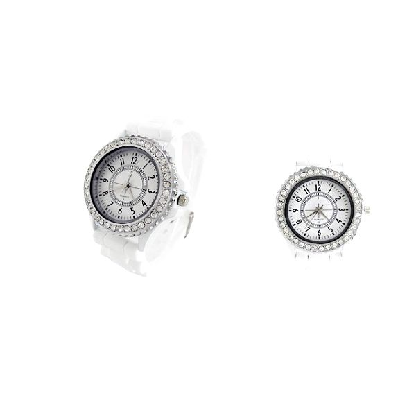 Luxusní hodinky s kamínky SANDA s bílým silikonovým řemínkem, které jsou ideálním doplňkem k šatům do divadla, nebo jinou událost!
