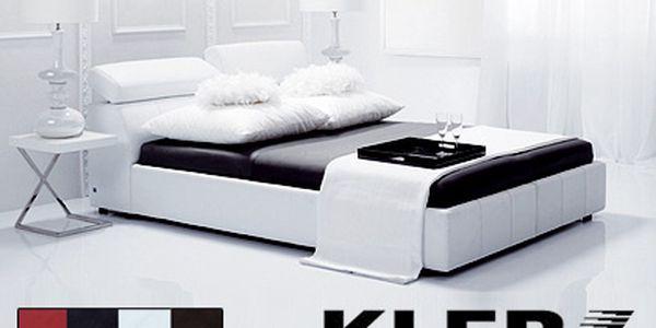 Luxusní postel značky KLER z pravé kůže – doprava, vynesení a montáž po celé ČR v ceně