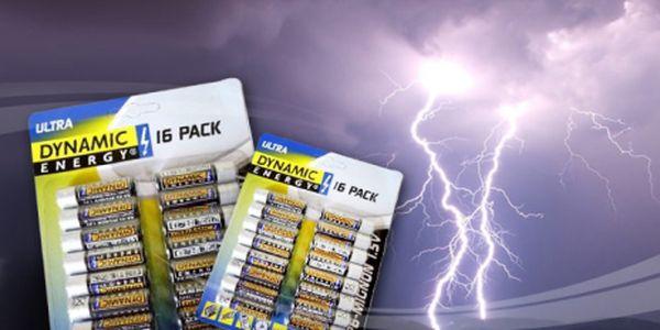 16 ks tužkových baterií - R6 AA Dynamic Energy 1,5V za parádní cenu 49 Kč! Pořiďte si zásobu tužkových baterií s úžasnou 40% slevou!