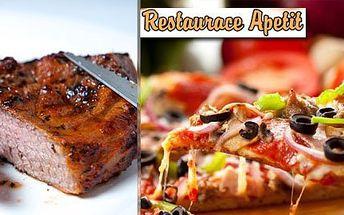 2x křupavoučká pizza dle výběru jen za 99 Kč nebo 2x poctivý šťavnatý steak z grilu s česnekovým dipem jen za 119 Kč! Vybírejte podle svého gusta a zavítejte do prvotřídní restaurace Apetit.