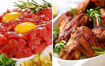 Tatarák a marinovaná křidélka! Tatarák ze svíčkové, marinovaná kuřecí křidélka i pečená žebra