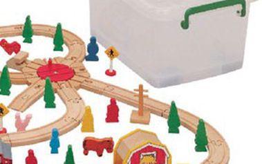 Dětská oblíbená VLÁČKODRÁHA MAXIM obsahující 120 dílků, baleno v plastovém boxu! Potěšte děti parádní DŘEVĚNOU STAVEBNICÍ