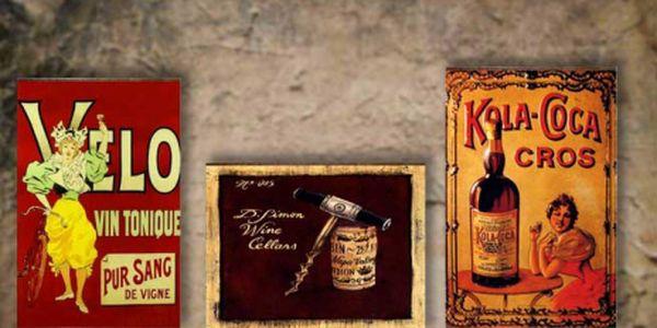 TIŠTĚNÝ OBRAZ do Vašeho interiéru! RETRO reklamy - obrázek na plátně jen za 49 Kč! Pořiďte si originální dekoraci za bezkonkurenční cenu. Nyní exkluzivní SLEVA 51%!