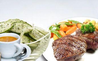 """Báječná večeře pro 2 v oblíbené restauraci Medlenka za 264 Kč! 2x medailonky """"fajnšmekr"""", 2x hranolky, 2x okurkový salát + 2x turecká káva!"""