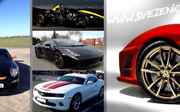 Lamborghini Gallardo,Ferrari F430, Porsche 911 GT3-optic, Chevrolet Camaro SS, Ariel Atom. Tyto nejluxusnější vozy čekají až je protáhnete a užijete si jízdu svých snů