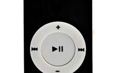 Stylový kapesní mini MP3 přehrávač s klipem, USB kabel, bílá stereo sluchátka, výdrž až 8 hodin