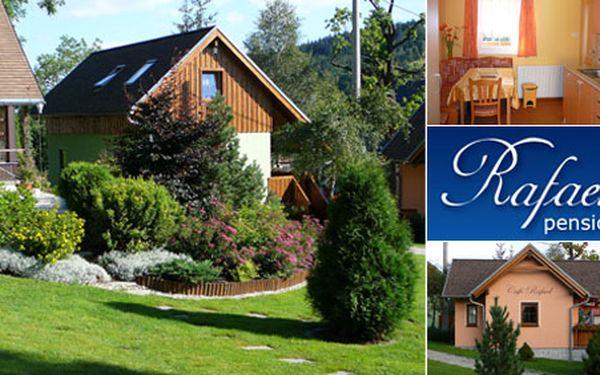 Ubytování v apartmánu pro 3 osoby na 4 dny za 1 399 Kč. Vemte rodinu na výlet se slevou 64 %. Užijte si příjemný pobyt v Penzionu Rafael v Bedřichově!