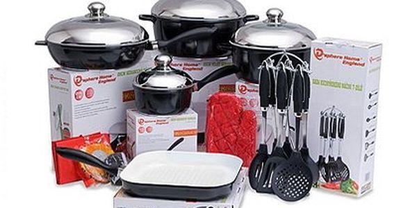 Sada keramického nádobí nejen pro indukci – 2 velké hrnce, 2 pánve a rendlík včetně pokliček